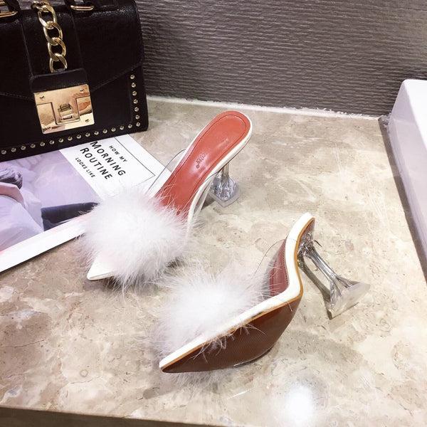 Women Peep Toe Fur Transparent High Heels Party Slippers