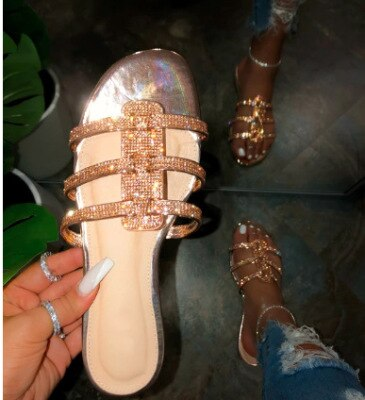 2020 summer new style lace-up sequin flat heel comfortable wild sandals