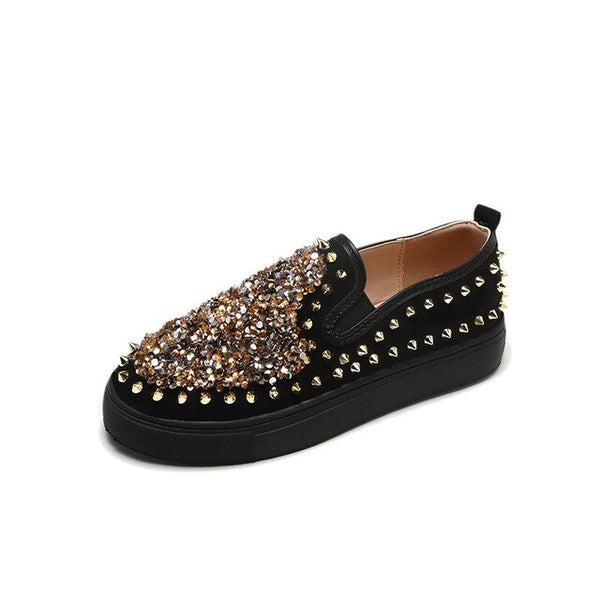 Women Rivets Sequined Rhinestone Platform Loafers Casual Shoes