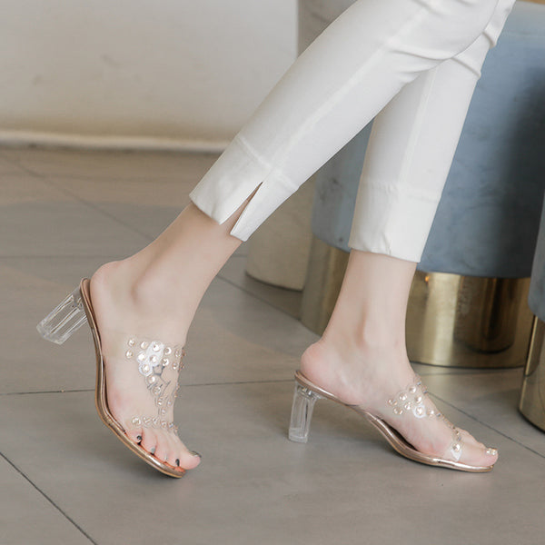 Women Crystal Transparent Rhinestone Party Wedding Middle Heels Sandals