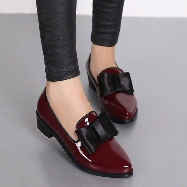 Women Pointed Toe Square Heel Butterfly-Knot Casual Leather Shoes