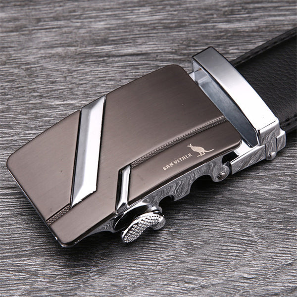 Belt- Men's Cowskin Metal Automatic Buckle Genuine Leather Belt