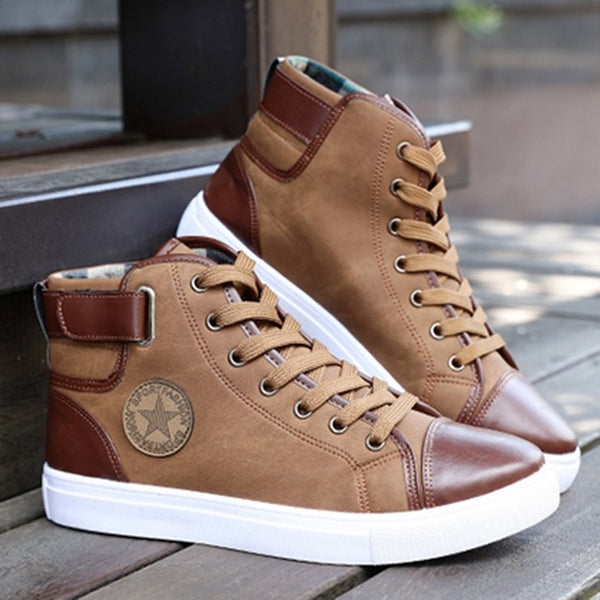 New Arrival Autumn Casual Lace-Up Leather Ankle High Top Canvas Men's Shoes