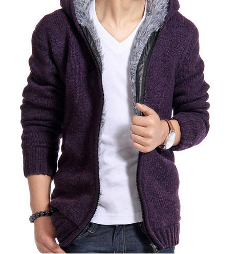2017 Men's Winter Thick Velvet Cotton Hooded Fur Jacket
