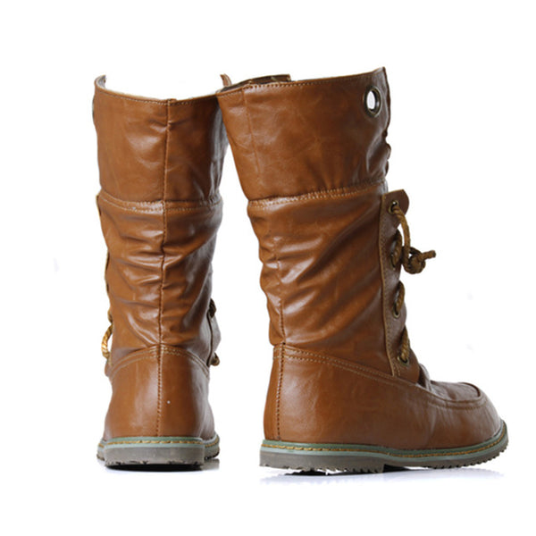 Boots- Women's Fashion Lace up Mid-calf Motorcycle Boots