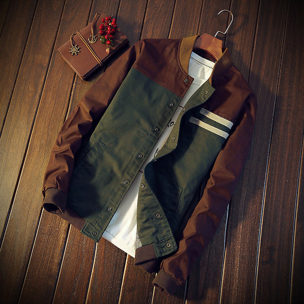 Jacket - 2017 New Cultivate paragraph color matching collar Jacket