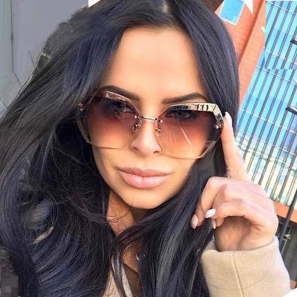 Sunglasses - Elegant Optics Rimless Lunette Femme Oversized Famous Brand Designer Lady Sunglasses