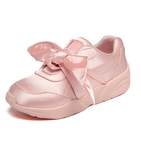 Shoes-Women's Bow Sneakers Popular Satin Bowknot Running Shoes