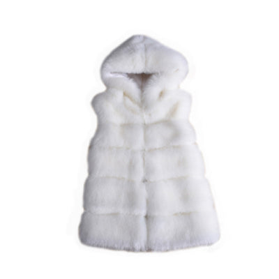 Faux Fur Coats Women New Fashion Thicken Women Sleeveless Faux Fur Vest 5 Colors Hooded