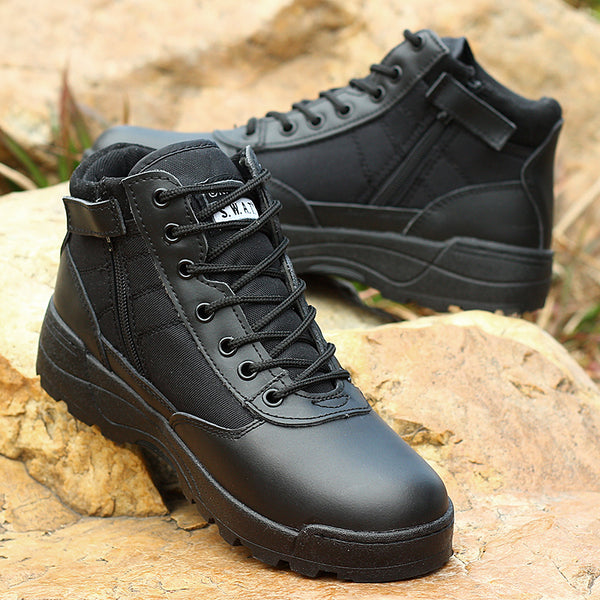 Boots - 2017 Light Genuine Leather Military With Side Zipper Men's Boots