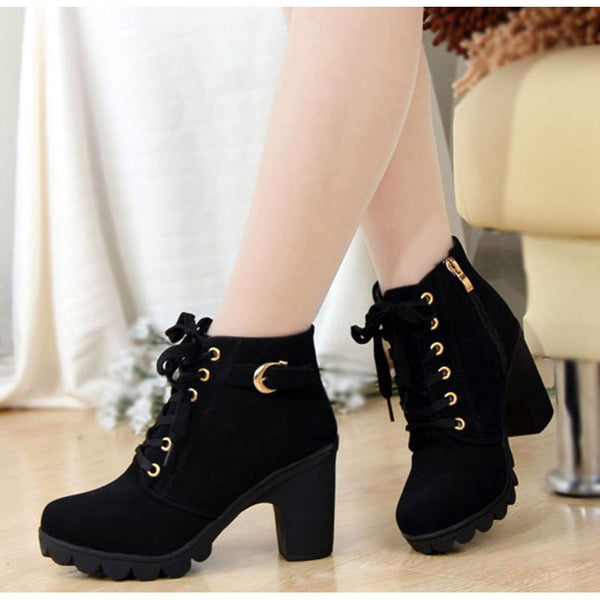 a15dc77479bb Boots-2017 New Winter Women Solid Lace-up High Heels Ankle Boots ...