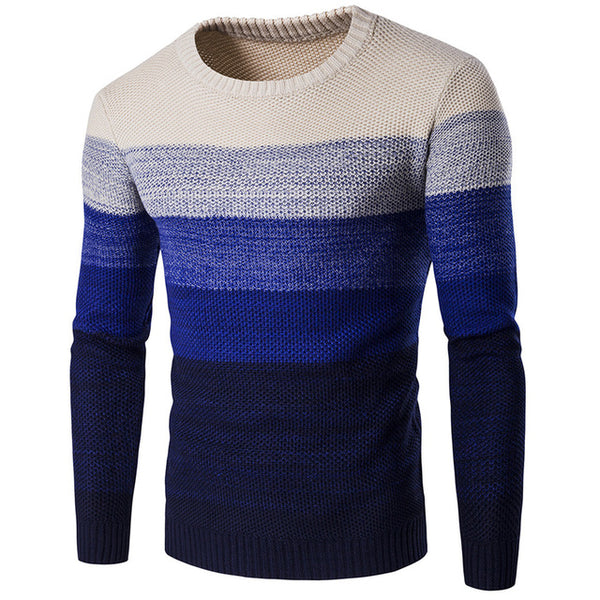 Sweater -Casual Sweater O-Neck Striped Slim Fit Men Long Sleeve Patchwork