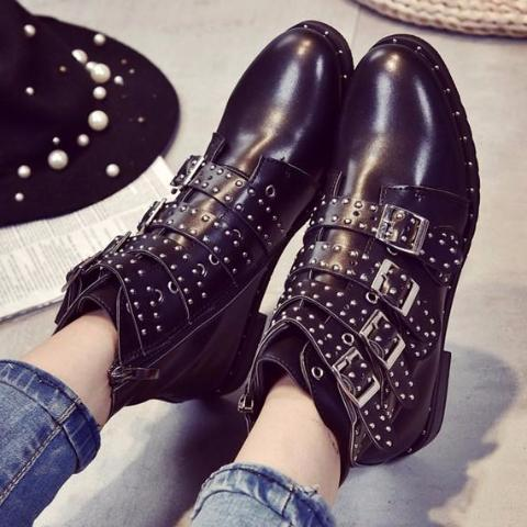 89f2a4544e65d Boots-Women's Leather Rivets Booties Ankle Boots – styleNB