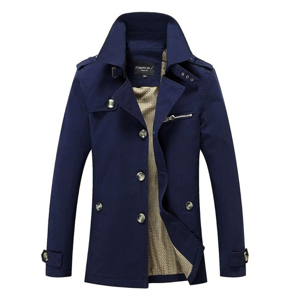 Windbreaker Jacket Men Solid Cotton Pockets Fashion Single-breasted  Male Jacket Coat