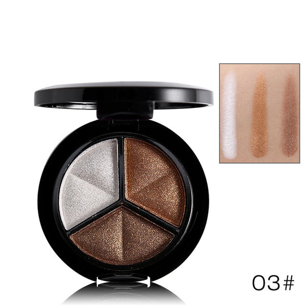 Beauty-Makeup Shimmer Eyeshadow Palette 3 Colors Smoky Cosmetics