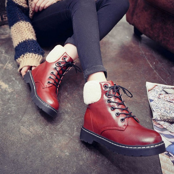 Shoes- Women's Winter Warm Plush Soft Leather Lace-up Snow Boots