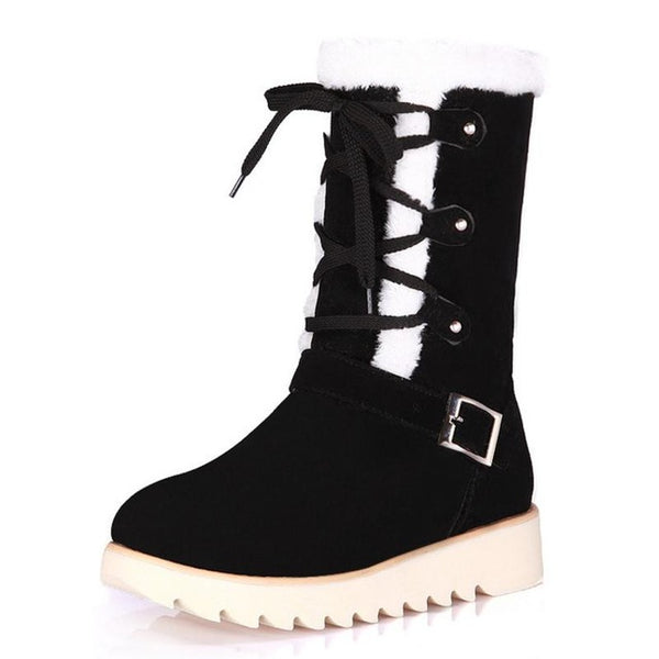 Boots-Women's  Cross Strap Metal Flat Thick Fur Boots