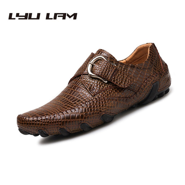 Men's Shoes - Autumn Winter Business Crocodile Pattern Leather