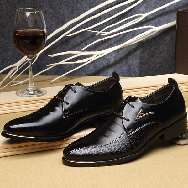 Shoes-Men's Pointed Toe Lace Up Business Casual Leather Oxfords Shoes