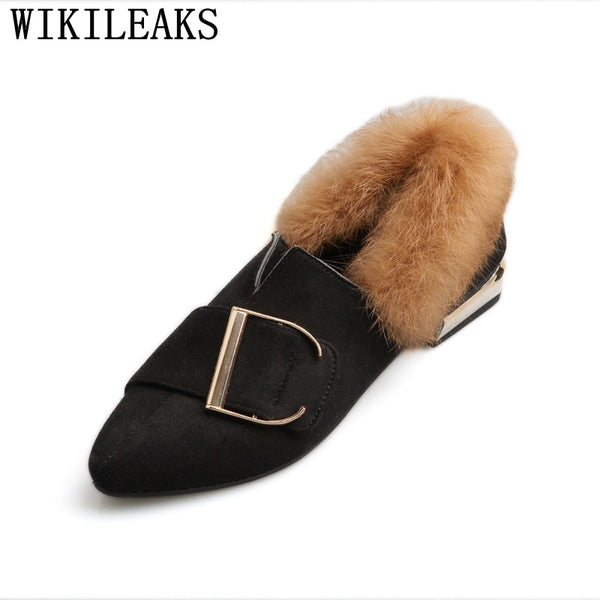 2018 new designer women shoes luxury brand flat shoes women fur slip on  loafers 4ffbb82acca1