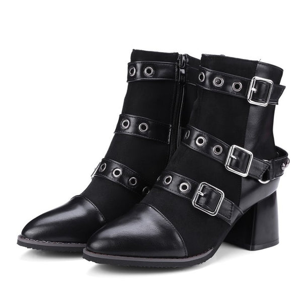 2018 Boots Martin Mid High Heels Leather Short Ankle Boots England Style Women Chunky Square Heel Pumps