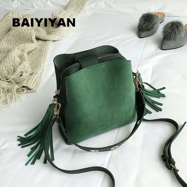 2018 Fashion Scrub Women Bucket Bag - Vintage Tassel Messenger Bag