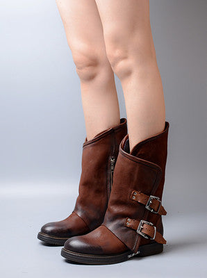 0ab9769a63851 Women's Shoes - Leather Buckle Strap Patchwork Low Heel Boots – styleNB