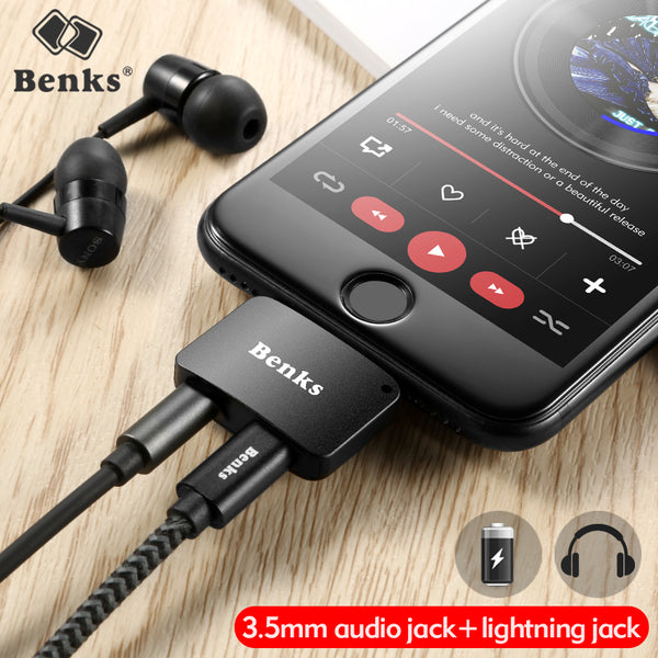 2 in 1 Audio Charging Adapter 3.5mm Headphone Jack AUX Charger Connector Converter For iPhone
