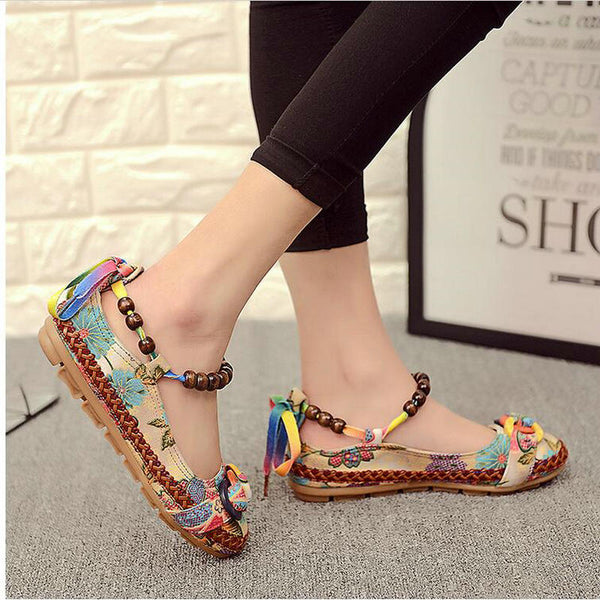 70bbefb045a0e Shoes- Women'sRetro Ethnic Embroidered Handmade Beaded Ankle Straps Loafers