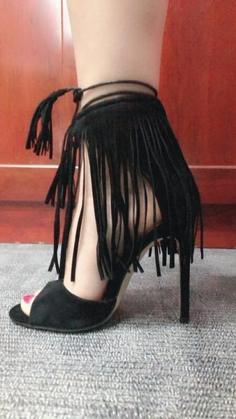 2018 Summer New Hot Women Straps High Heels Tassel Sandals