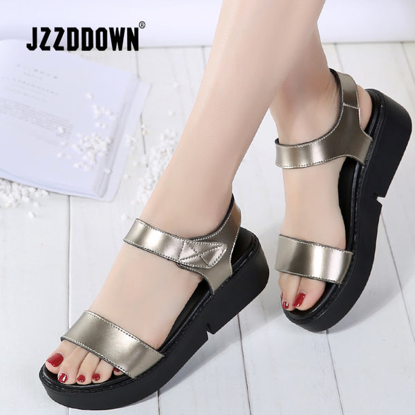 Women Flats Leather Sliver Platform Sandals