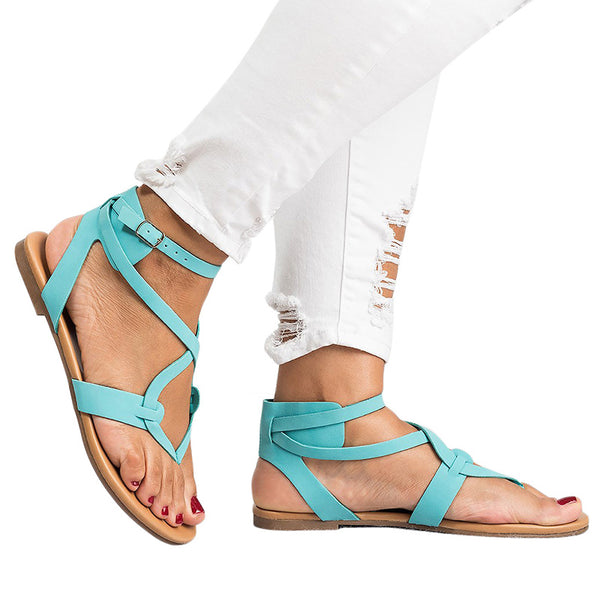 2e9476d0d25 2018 New Woman s Summer Casual Flat Ankle Strap Sandals