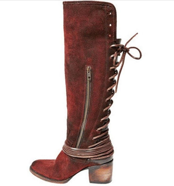 cb6c6ac7b7e Women's Shoes - Women's Retro Leather Chunky High Heel Knee High Boots