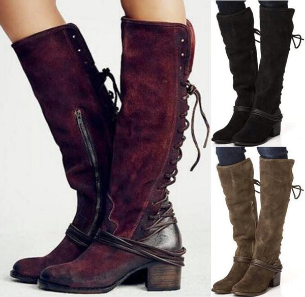 f44ce54dbf37 Women s Shoes - Ladies Vintage PU Leather Square Heels Knee High Boots