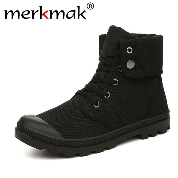 outlet for sale lovely luster reasonably priced Men's Shoes -Men Canvas Boots Army Combat Style Fashion High-top Military  Ankle Boots
