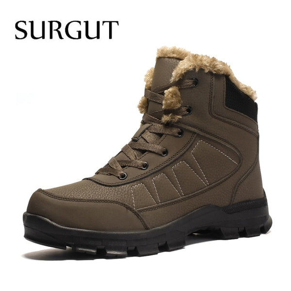 Brand Autumn Winter Warm Fur Men Comfortable Working Shoes High Top Snow Boots