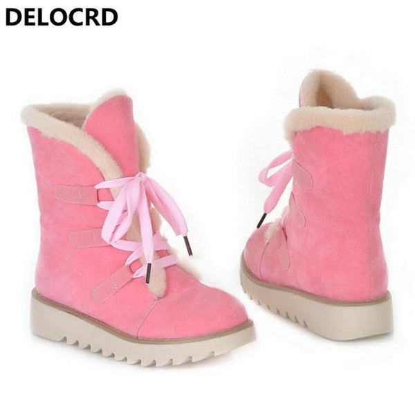 Women's Snow Boots Thick Wool Warm With  Cotton Shoes