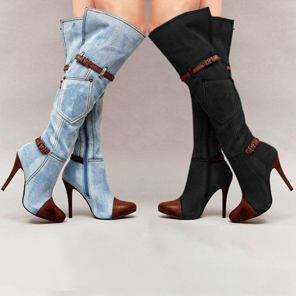 0f34236618a4 Women s Shoes - 2018 Fashion Sexy Denim Boots For Women – styleNB