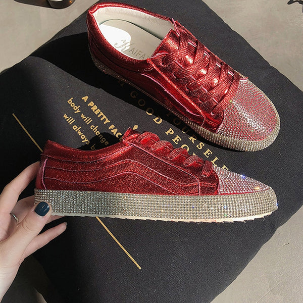Women Canvas Shoes 2020 Fashion Crystal Lace Up Women Sneaker