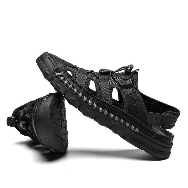Leather Men Casual Sandals Quality Beach Slippers