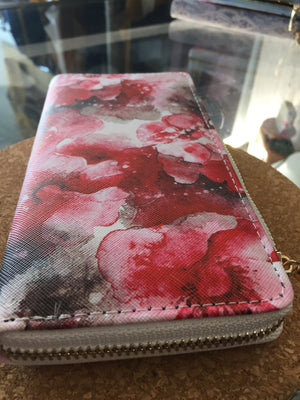 Printed Floral PU Wallet (Red)