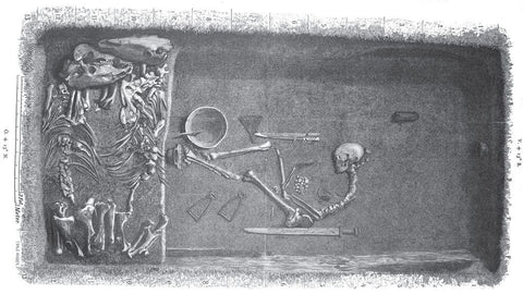 Inside the BJ581 Viking grave in Birka that the archaeologists excavated.The remains of the woman were placed among many types of weapons like axe, sword, bow and arrows, and shields. Two horses were also buried with her inside the BJ581