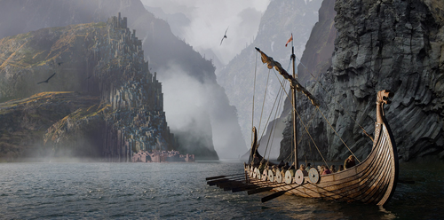 Viking ship art. Viking ship is among the greatest Viking achievement in the Viking Age