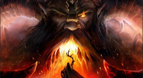 Image of weird weapon Norse myth Freyr vs Surtr