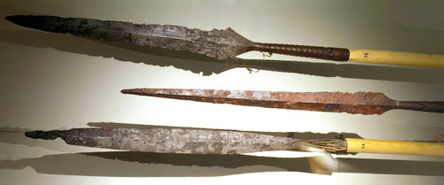Viking spearheads with the modern reconstructed shafts
