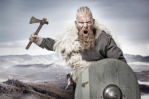 Viking warrior wielding axe and holding shield
