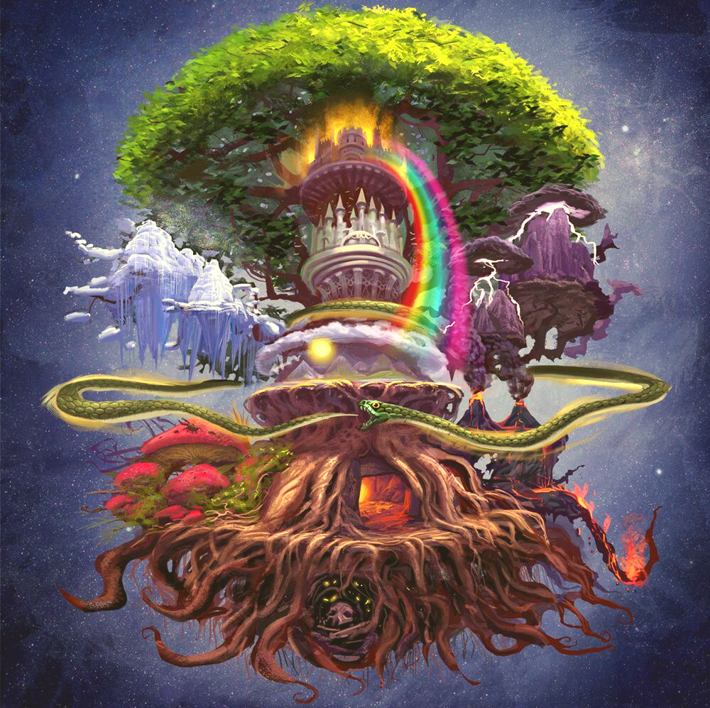 Image of Norse worlds on Yggdrasil Tree