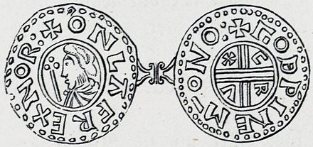 Olaf Tryggvason's coin dating back to the reign of Olaf I King of Norway