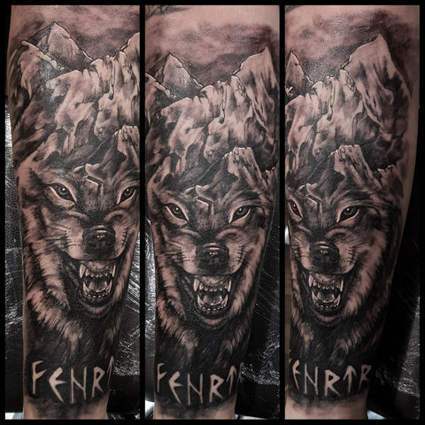 Image of Fenrir tattoo norse wolf tattoos