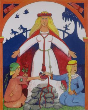 Lofn was the goddess of forbidden love in Norse mythology. She would give the couple blessings to be together as long as they vowed to be faithful to their partner